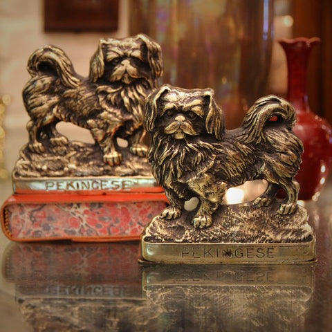 English Cast Brass Pekingese Bookends (LEO Design)