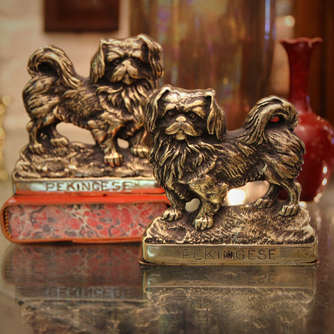 English Cast Brass Pekingese Mirrored Bookends (LEO Design)