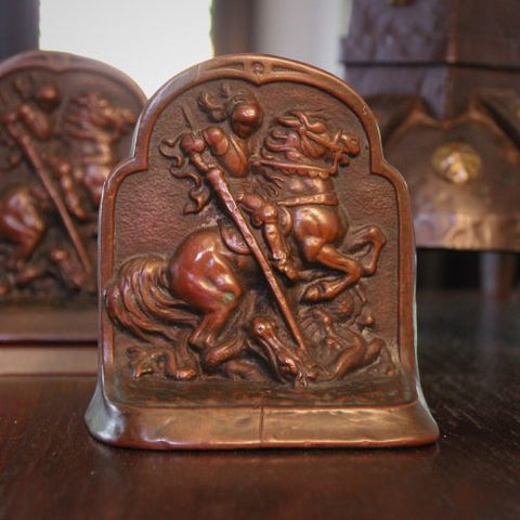 Bronze-Clad Saint George and the Dragon Bookends (LEO Design)