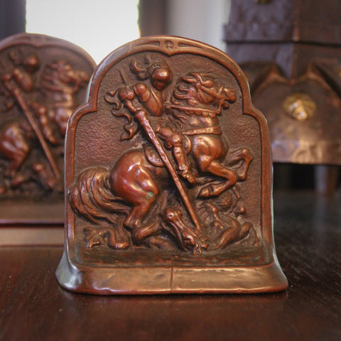 Bronze-Clad Bookends with Bas Relief Sculpture of Saint George Slaying the Dragon (LEO Design)