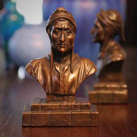Bronze-Clad Bookends of Dante Alighieri (LEO Design)