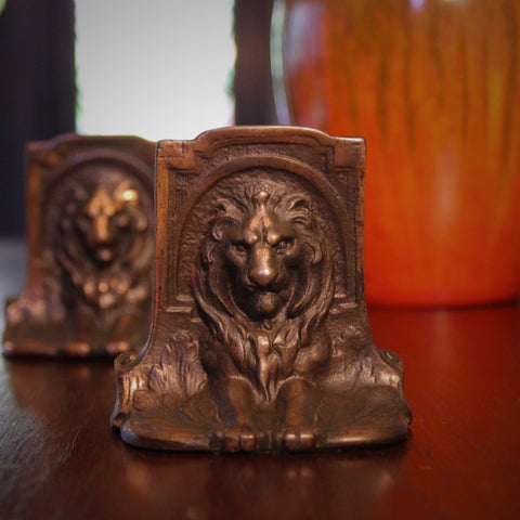 "Cast Iron ""Recumbent Lions"" Bookends (LEO Design)"