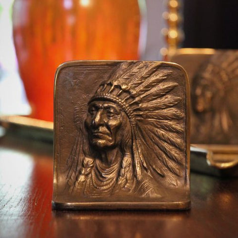 Cast Iron Native American Chief Bookends (LEO Design)