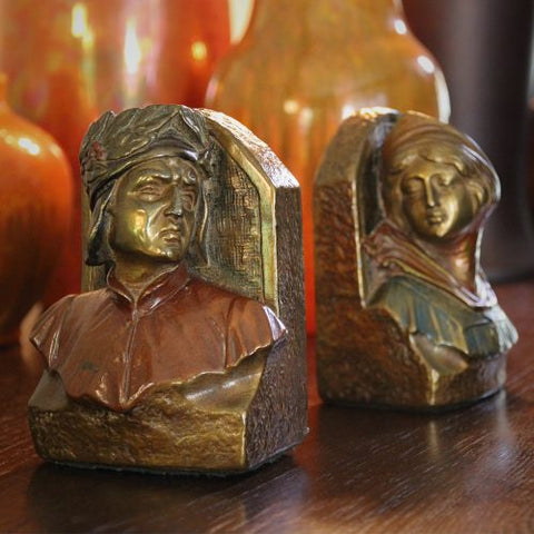 Bronze-Clad and Painted Dante & Beatrice Bookends (LEO Design)