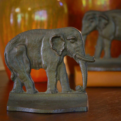 Mirrored Pair of Cast Bronze Asian Elephant Bookends (LEO Design)