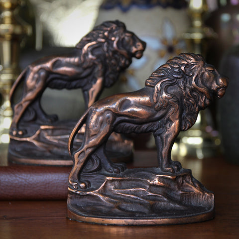 Proud Lion Cast Iron Bookends with Copper Wash (LEO Design)