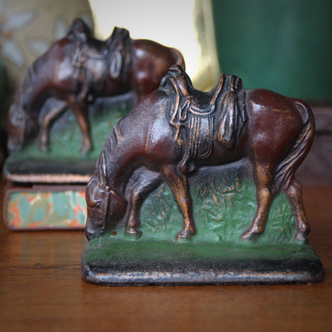 Cast Iron Grazing Horse Bookends with Original Paint (LEO Design)