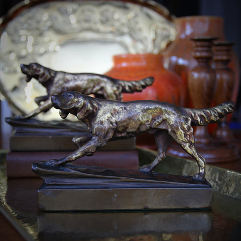 "Bronze-Clad ""Bird Dog"" Bookends (LEO Design)"