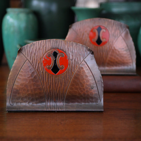 American Arts & Crafts Hand-Hammered Copper Bookends (LEO Design)