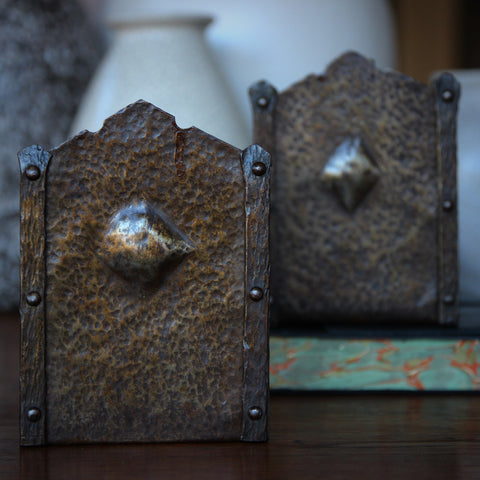 German Jugendstil Hand-Hammered and Riveted Steel Bookends (LEO Design)