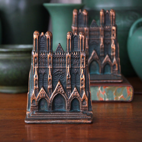 Cast Iron Reims Cathedral Bookends with Copperwash (LEO Design)