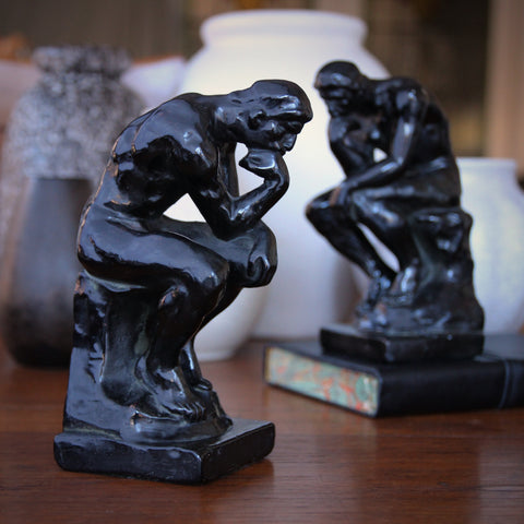 "Bronze-Clad Bookends After Rodin's ""Le Penseur"" (LEO Design)"