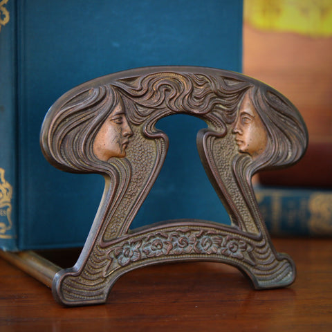 American Art Nouveau Sliding Bookrack with Mucha-Inspired Women's Profiles (LEO Design)
