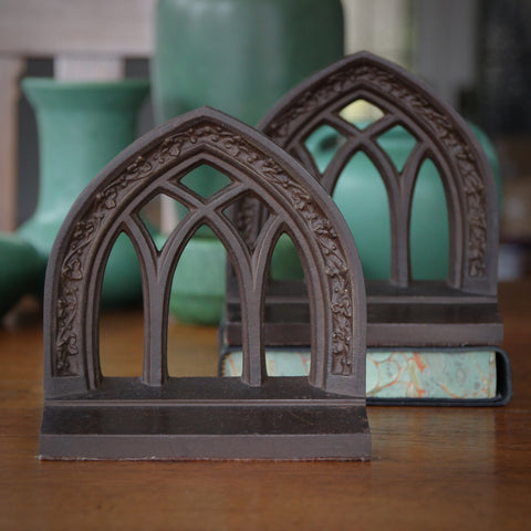 Architectural Gothic Arch Bookends by Bradley & Hubbard (LEO Design)