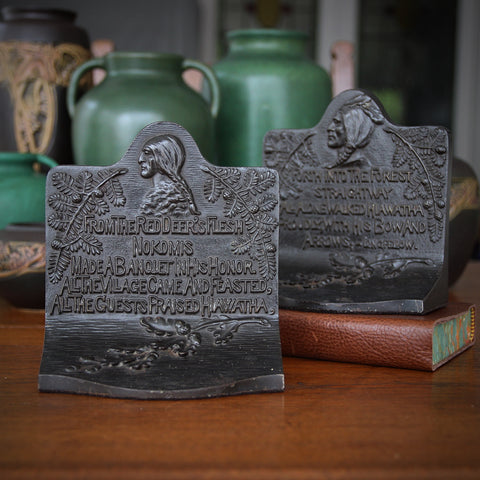 "Heavy Cast Iron Bookends of Longfellow's ""Song of Hiawatha"" (LEO Design)"