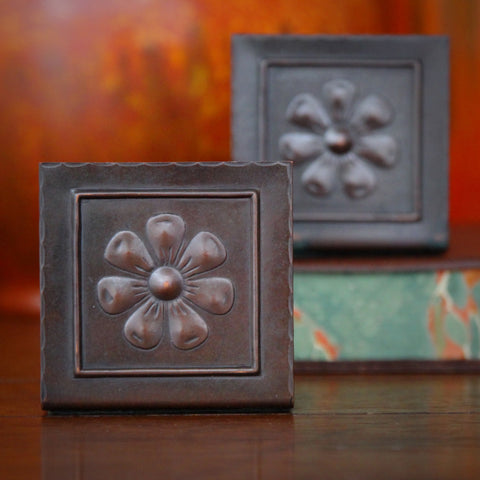 "Roycroft ""Little Journeys"" Hand-Hammered Copper Mini-Bookends with Floral Decoration (LEO Design)"
