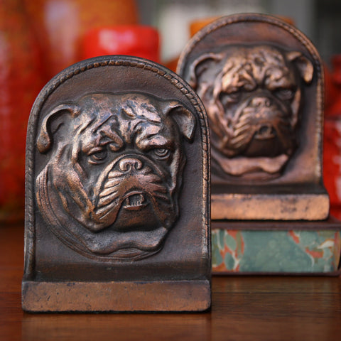 Cast Iron Bulldog Bookends with Copperwash Patina (LEO Design)
