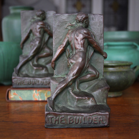 "Bronze-Clad Male Nude ""The Builder"" Bookends by Scuptor Julio Kilenyi (LEO Design)"