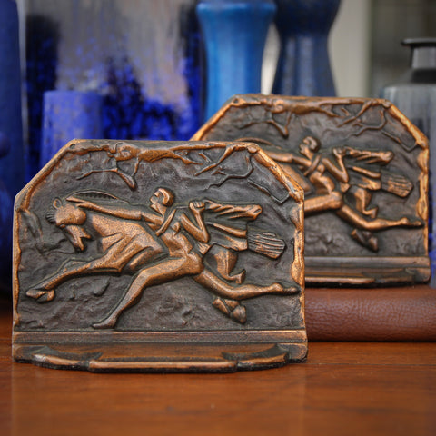 "Cast Iron Brutalist Art Deco ""Horse Tamer"" Bookends with Copper Finish (LEO Design)"
