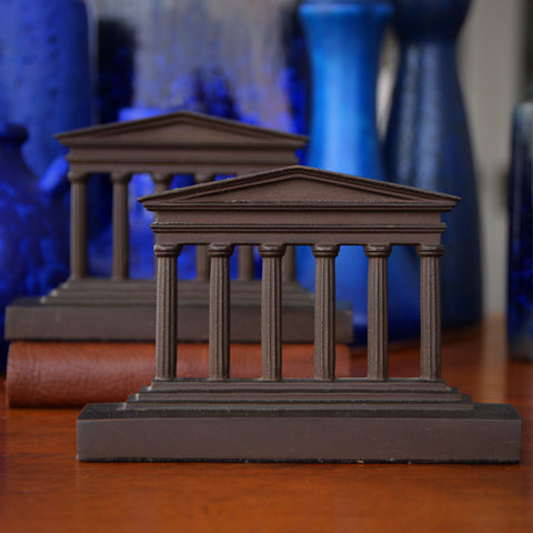 "Neo-Classical ""Temple of Concordia"" Cast Iron Bookends by Bradley & Hubbard (LEO Design)"