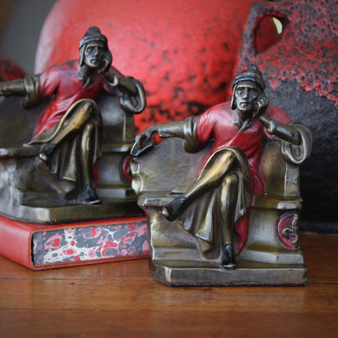 Bronze Clad Dante Alighieri Bookends with Original Polychrome Painting (LEO Design)