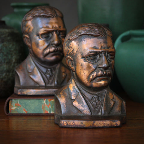Cast Iron President Theodore Roosevelt Bookends with Copper Wash (LEO Design)