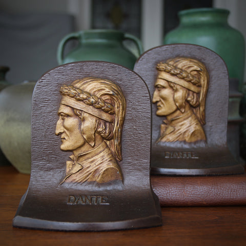 Heavy Cast Iron Bookends of Dante Alighieri by Bradley and Hubbard (LEO Design)