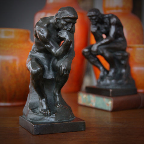 "Bronze-Clad Bookends After Rodin's ""Le Penseur"" (The Thinker) with Dark Finish (LEO Design)"