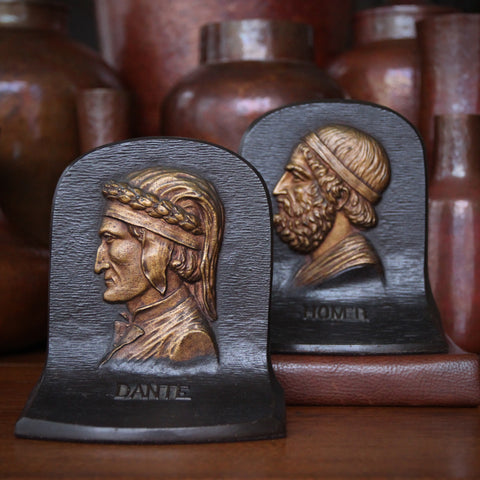"The ""Great Poets"" (Dante & Homer) Cast Iron Bookends by Bradley & Hubbard (LEO Design)"