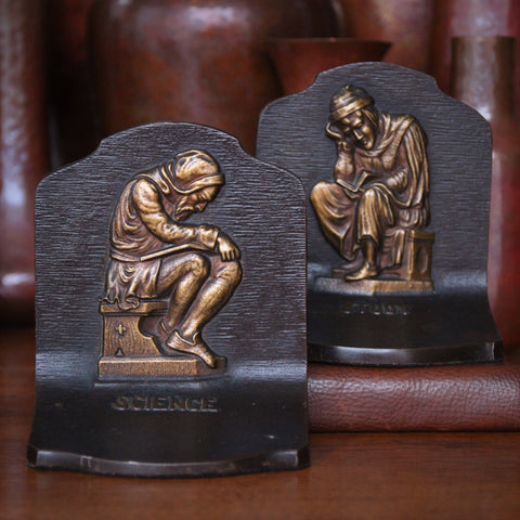 "Cast Iron ""Science & Study"" Bookends with Sleepy Monks by Bradley & Hubbard (LEO Design)"