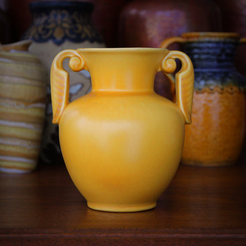 Stangl American Art Deco Two-Handled Vase with Yellow Glaze (LEO Design)