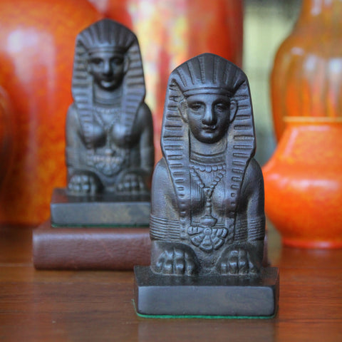 Art Deco Cast Iron Bookends of The Great Sphinx (LEO Design)