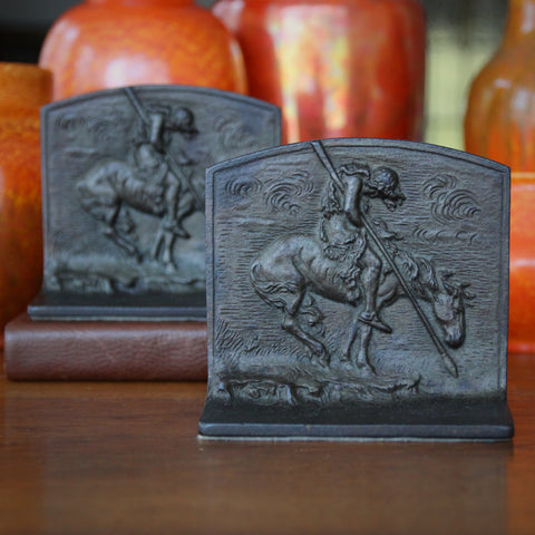 "Cast Iron ""The End of the Trail"" Bas Relief Bookends (LEO Design)"