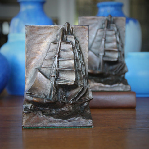 Cast Iron Bookends with Heavily Sculpted Bas Relief Sailing Ships (LEO Design)
