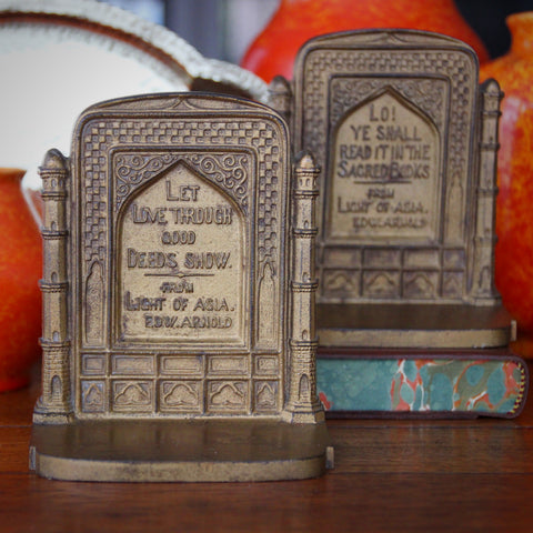 """Bradley & Hubbard Cast Iron Bookends Quoting """"Light of Asia"""" by Edwin Arnold (LEO Design)"""
