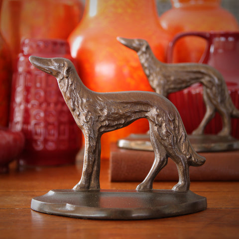 Cast Iron Russian Wolfhound Bookends (LEO Design)