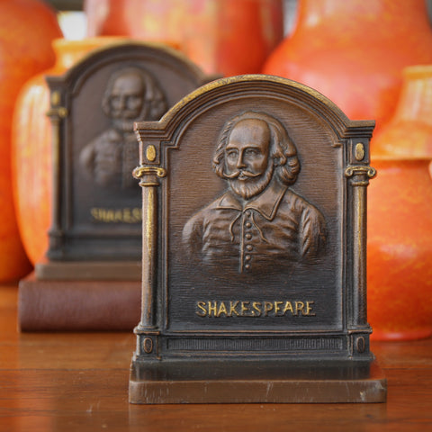 Cast Iron Bookends with William Shakespeare's Bust by Bradley & Hubbard (LEO Design)