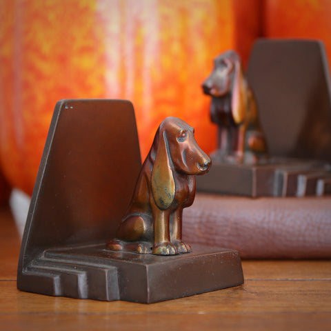 Art Deco Basset Hound Spelter Bookends on Stepped Plinths (LEO Design)