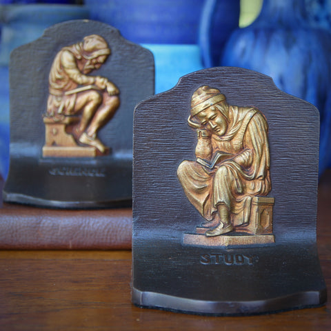 """Bradley & Hubbard """"Science & Study"""" Bookends with Bronzed Finishes (LEO Design)"""