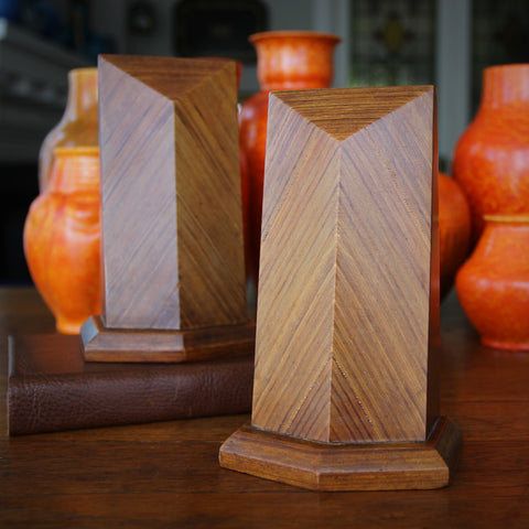 English Art Deco Bevelled Wooden Bookends with Bias-Cut, Book-Matched Veneering (LEO Design)