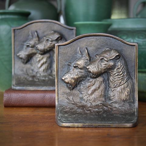 Cast Iron Bookends with Bas Relief Profiles of Two Terriers (LEO Design)