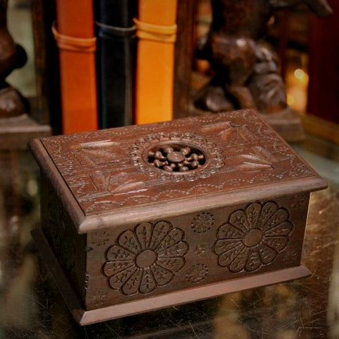 Carved Wooden Box from Brittany, France (LEO Design)