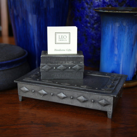 German Jugendstil Desk Set—Box and Business Card Holder (LEO Design)