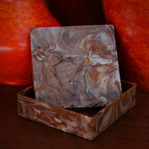 American Art Deco Marbled Bakelite Dresser Box with Deer Bas Relief (LEO Design)