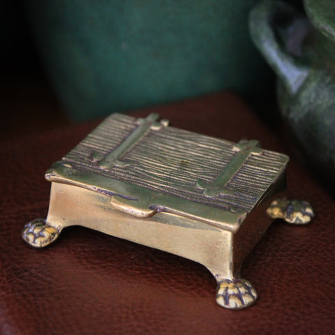 Edwardian English Cast Brass Stamp or Trinket Box with Lion's Paw Feet (LEO Design)