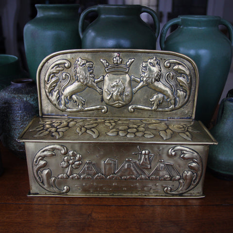 English Arts & Crafts Hand-Hammered Brass Candlebox with Rampant Lions and Botanical Repoussé (LEO Design)