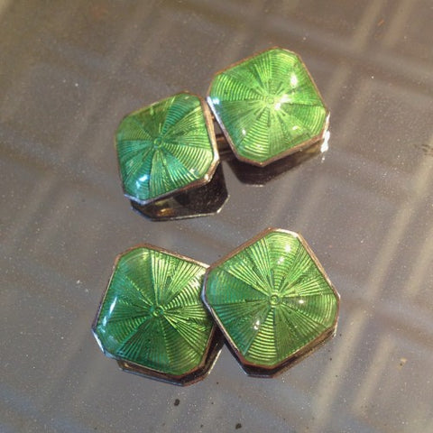 Art Deco Cufflinks with Green Enameling (LEO Design)