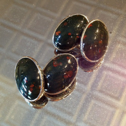 English Bloodstone Cufflinks in Silver Settings (LEO Design)