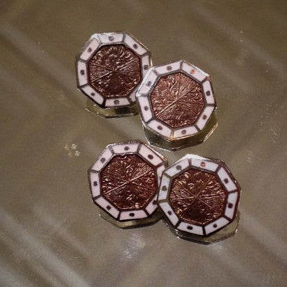 Art Deco Octagonal Cufflinks with Rose and White Enameling (LEO Design)
