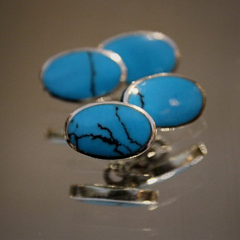Turquoise Cufflinks in Silver Settings (LEO Design)